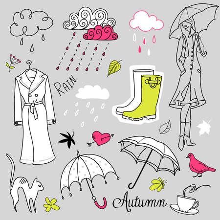 雨の秋の日のいたずら書き  イラスト・ベクター素材