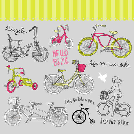 Vintage bicycle set and a beautiful girl riding a bike  Vector