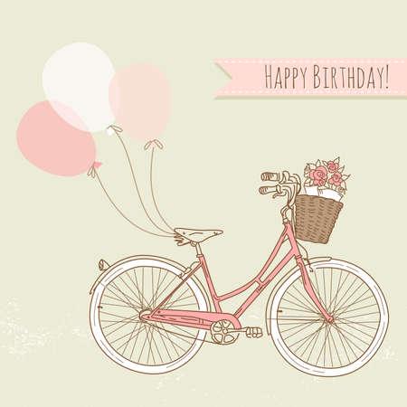 compleanno: Bicicletta con palloncini e un cesto pieno di fiori, carta di compleanno romantica