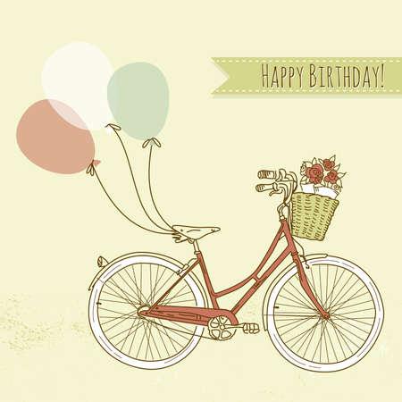 bicicleta retro: Bicicleta con globos y una canasta llena de flores, tarjetas de cumplea�os rom�ntica