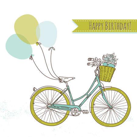 bicicleta retro: Bicicleta con globos y una cesta llena de flores, tarjeta de cumpleaños romántica