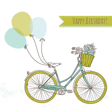 pink bike: Bicycle with balloons and a basket full of flowers, Romantic Birthday card