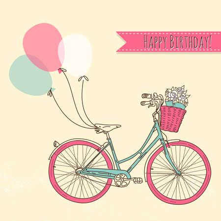 retro bicycle: Bicicleta con globos y una canasta llena de flores, tarjetas de cumplea�os rom�ntica