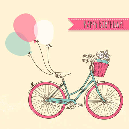 vintage postcard: Bicycle with balloons and a basket full of flowers, Romantic Birthday card