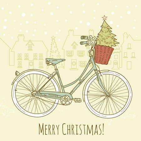 Andar en bicicleta en estilo, postal de Navidad Foto de archivo - 16681176