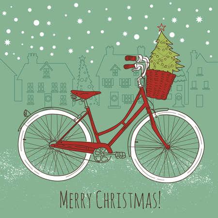 Rijden op een fiets in stijl, prentbriefkaar van Kerstmis Stock Illustratie