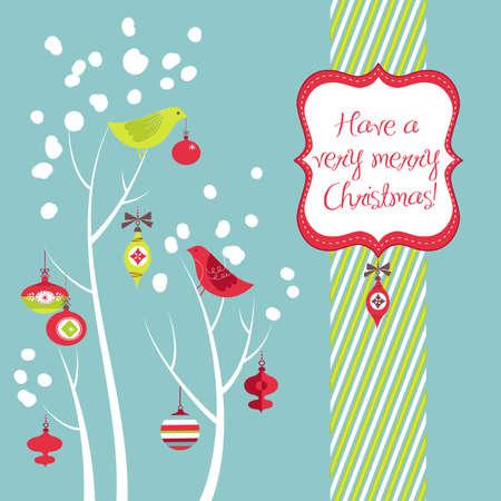 Retro Kerstkaart met twee vogels, witte sneeuwvlokken, winter bomen en kerstballen