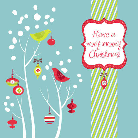 Retro Christmas card with two birds, white snowflakes, winter trees and baubles  Vectores