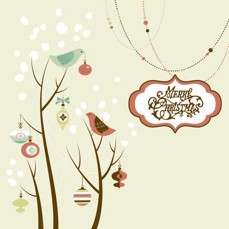 Retro Christmas card with two birds, white snowflakes, winter trees and baubles  Ilustração