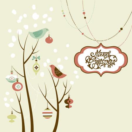 Retro Weihnachtskarte mit zwei Vögeln, weißen Schneeflocken, Winter Bäume und Christbaumkugeln Standard-Bild - 16680979