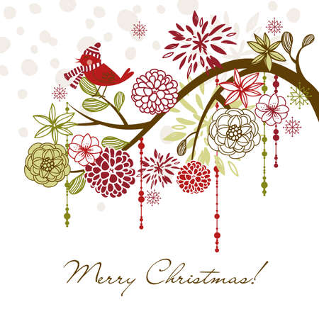 free christmas: Floral Winter background.  Illustration