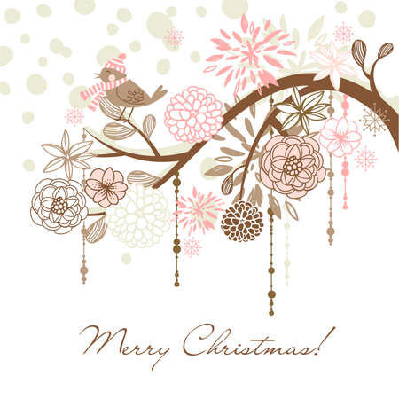 wedding backdrop: Cute christmas card with a winter bird