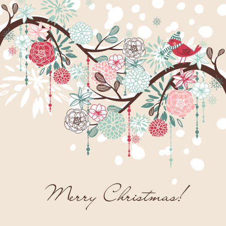 new years day: Floral Winter background.  Illustration