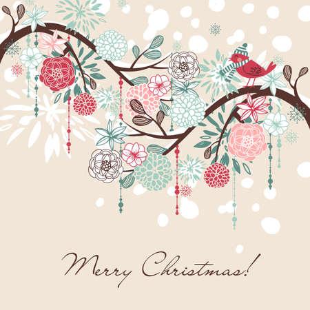 Floral Winter background.  Illustration