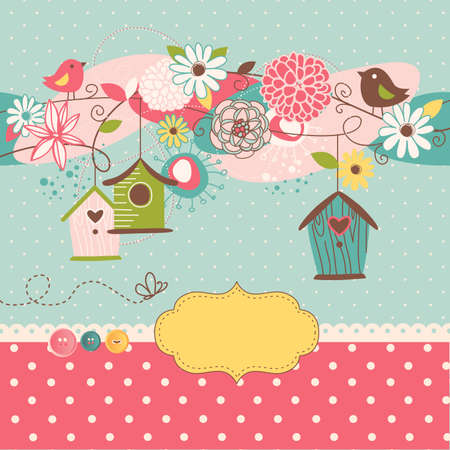 Beautiful Spring background with bird houses, birds and flowers  向量圖像