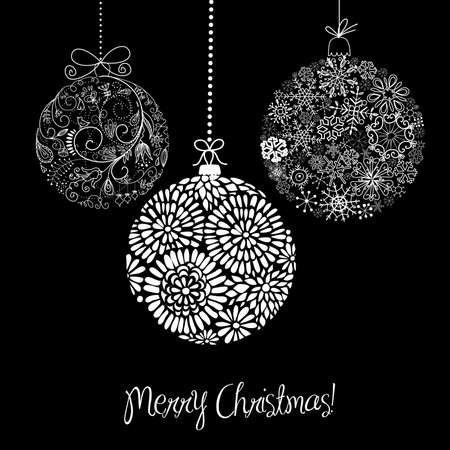 postcard background: Black and White Christmas ornaments