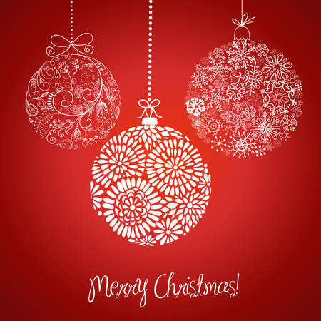 Red and white Christmas balls illustration. Vector