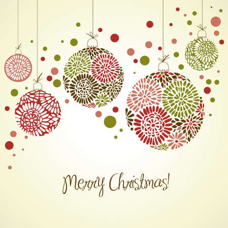 winter wallpaper: Tarjeta retro con bolas de Navidad