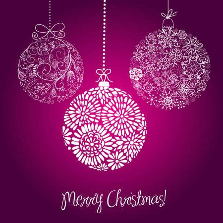 Purple and white Christmas balls illustration.  向量圖像