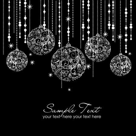 christmas backgrounds: Black and White Christmas ornaments