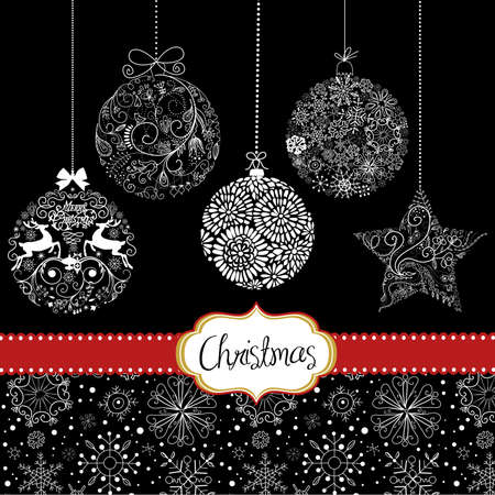 white trim: Black and White Christmas ornaments. Card template