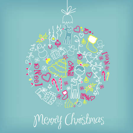 Cute Christmas ball illustration. Vector