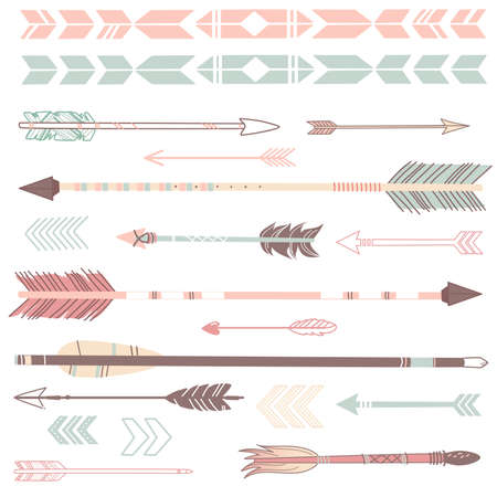 drawing arrow: A set of cute hipster arrows, hand drawn doodles