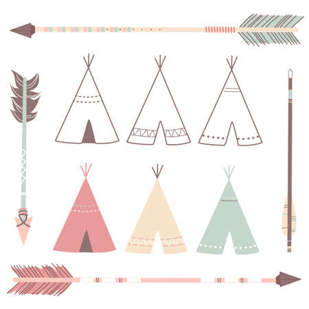 Teepee Tents and arrows - hipster style 向量圖像