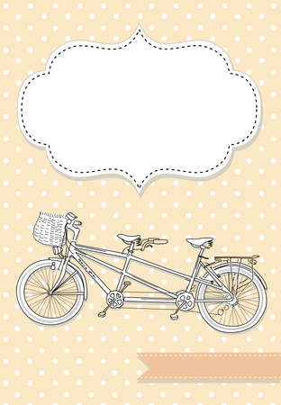 white victorian old retro vintage: Tandem Bicycle Wedding Invitation with polka dot background