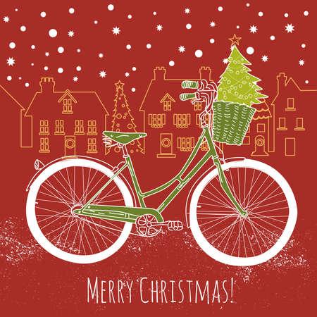 cartoline vittoriane: In sella a una moto in stile, Cartolina di Natale Vettoriali