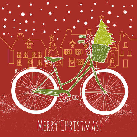 postcard background: Riding a bike in style, Christmas postcard