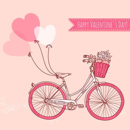 retro bicycle: Bicicleta con globos y una cesta llena de flores, rom�ntico tarjeta del d�a de San Valent�n