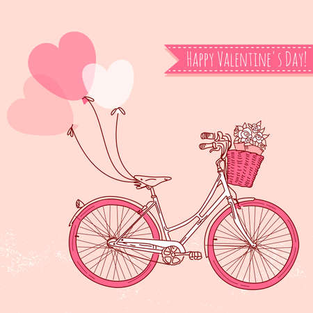 retro man: Bicycle with balloons and a basket full of flowers, Romantic Valentines Day Card