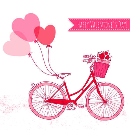 Bicycle with balloons and a basket full of flowers, Romantic Valentines Day Card