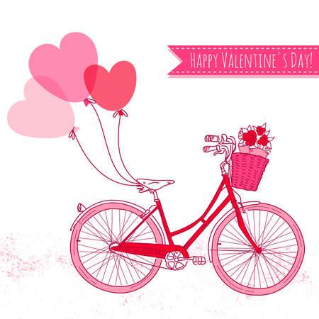 vintage: Kerékpár léggömbökkel és egy kosár tele virágokkal, romantikus Valentin-nap kártya Illusztráció