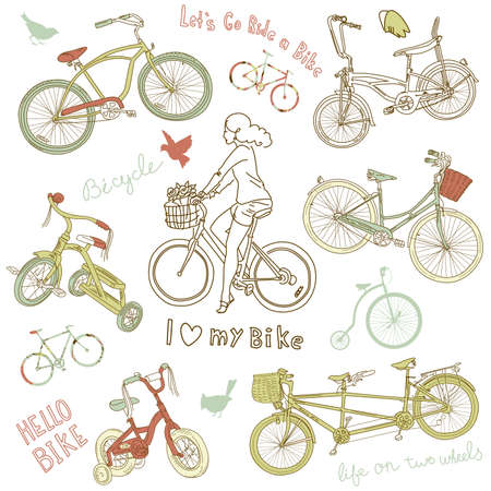 antique tricycle: Vintage bicycle set and a beautiful girl riding a bike  Illustration