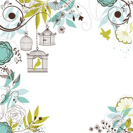 El verano de fondo floral. Aves de su concepto de jaulas Foto de archivo - 20468399