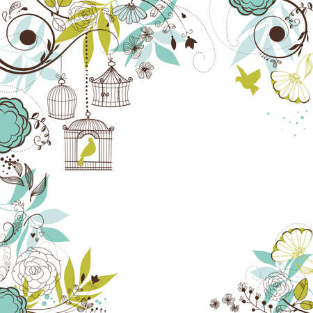 cage: Floral summer background. Birds out of their cages concept