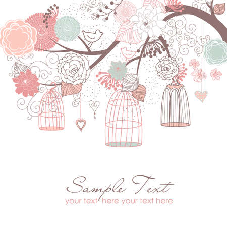свадебный: Цветочный фон летом. Птицы из их концепции клетки