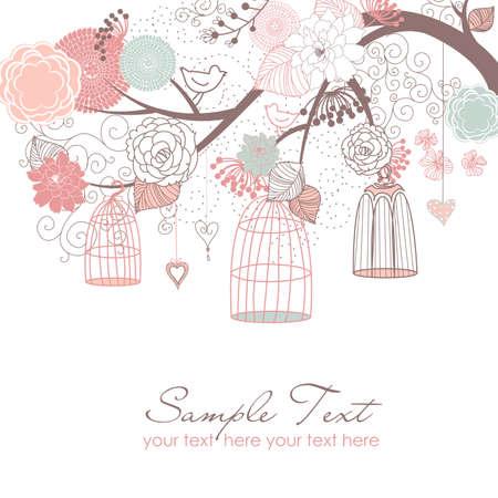 florale: Floral Sommer Hintergrund. Vögel aus ihren Käfigen Konzept Illustration