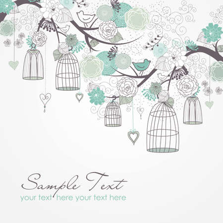 bird house: Floral summer background. Birds out of their cages concept