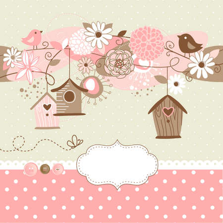 postcard background: Beautiful Spring background with bird houses, birds and flowers  Illustration
