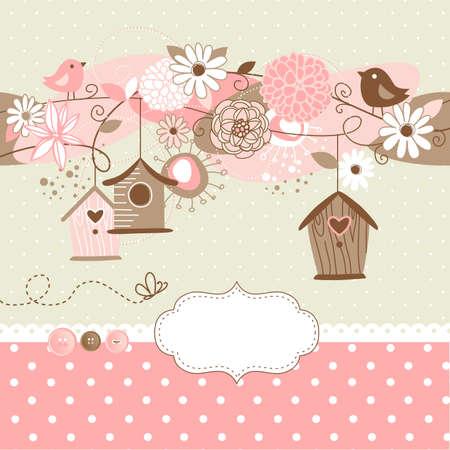 De fondo primavera hermosa con casas de aves, p?jaros y flores