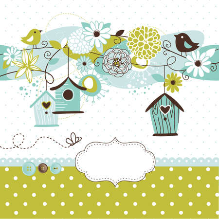 Beautiful Spring background with bird houses, birds and flowers  Иллюстрация
