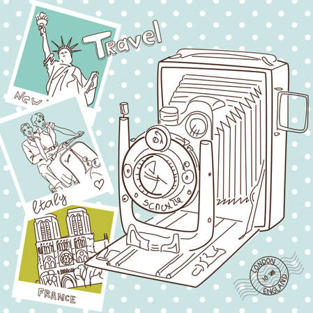 Travel with your vintage camera. Snapshots of different countries and old camera on a polka dot background  Vector