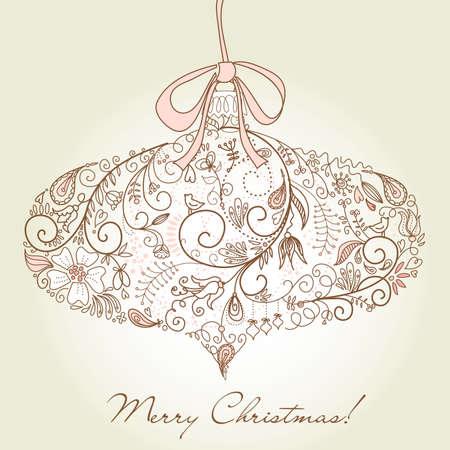 Christmas ornament in retro style illustration  Illustration