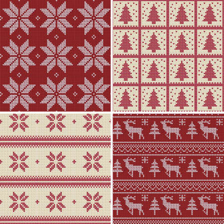Set of traditional christmas knitted Scandinavian seamless patterns Vector