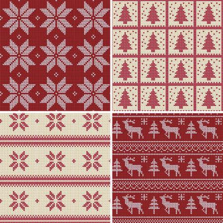Set van traditionele kerst gebreide Scandinavische naadloze patronen Stock Illustratie