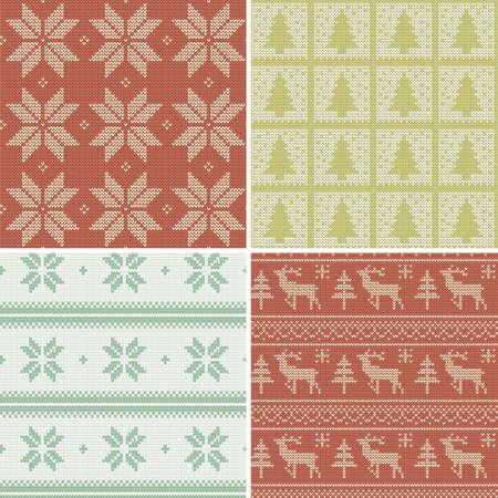 一連の伝統的なクリスマスのスカンジナビアのシームレスなパターンをニット