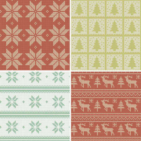 A set of traditional christmas knitted Scandinavian seamless patterns Vector